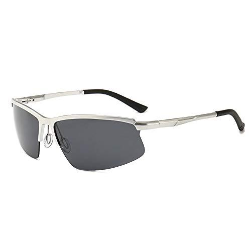 Half Frame Brille Vintage Polarized Sonnenbrillen für Männer Accessoires (Farbe : Silver)
