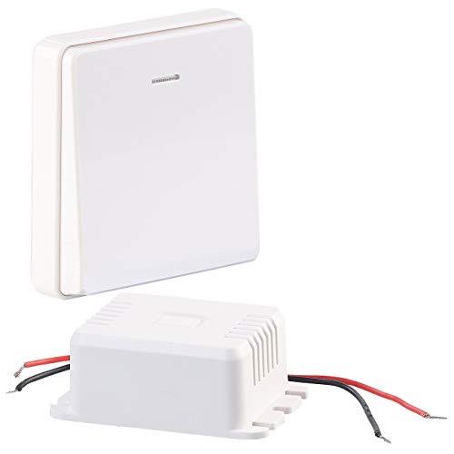 CASAcontrol Funkschalter: Einbau-Funk-Schaltmodul & kinetischer Funk-Taster (groß), bis 200 Watt (Funkschalter Set)