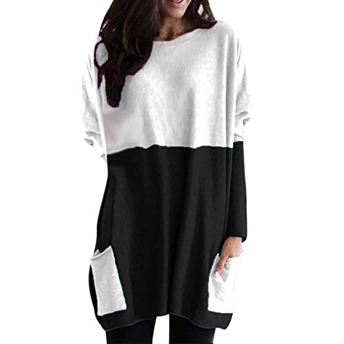 TEFIIR Damen Nähte Farbe Baumwolle Hemd mit Tasche Rundhals Pullover Mode Casual Sweatshirt Langarm Lose Mantel Hoodies Sweater Wamer Outwear
