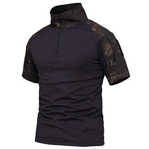 donhobo Taktisch T-Shirt Kurzarm Slim Fit Herren Baumwollhemd Outdoor Military Shirt Army Airsoft Hemd Combat Shirts (03Schwarz-Kurzarm, XL) -