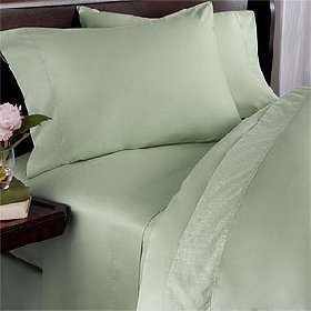 1000-Thread-Count Egyptian Cotton 4 Piece Bed Sheet Set,1000Tc, Queen Size, Sage Solid 1000 Tc