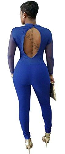 EOZY Femme Romper Motif Col V Combinaison Soirée Jumpsuit Pantalon Bleu