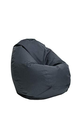 Bruni Sitzsack Classico M in Grau - Sitzsack mit Innensack zum Zocken & Lesen, Abnehmbarer Bezug, EPS-Perlen als Bean-Bag-Füllung, aus Deutschland