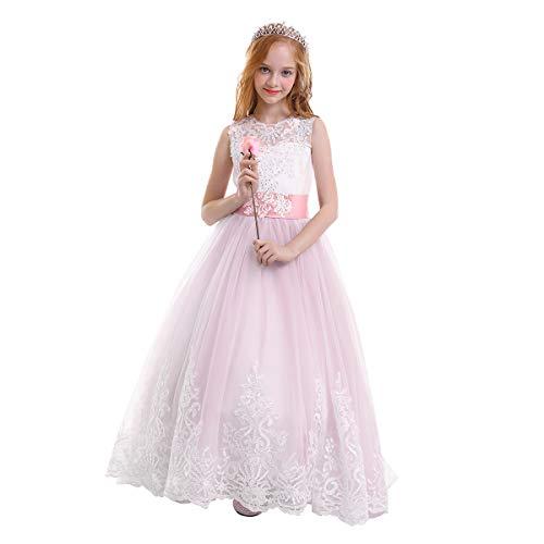 OBEEII Mädchen Kinder Spitze Tüll Hochzeit Kleid Jugendweihe Prinzessin Kleider 8-9 Jahre Violett Rose