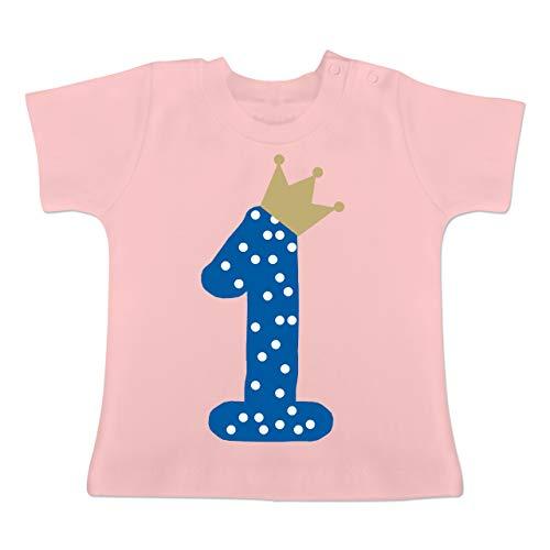 Geburtstag Krone Junge Erster - 18-24 Monate - Babyrosa - BZ02 - Baby T-Shirt Kurzarm ()