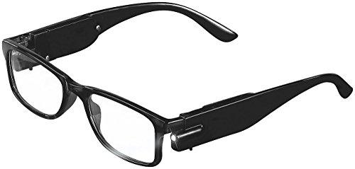 PEARL Brille mit Licht: Modische Lesehilfe mit integriertem LED-Leselicht, 1,5 dpt (Brille mit LED Beleuchtung)