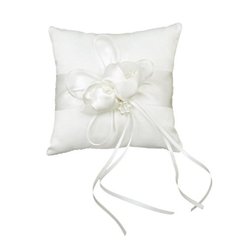 TOOGOO(R) Lovely Ivory Bud Flower Wedding Ring Pillow 6 inch x 6 inch