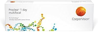Proclear 1-Day Lentes de contacto multifocales diarias, R 8.7, D 14.2, -2 dioptría, adición 0 - 30 lentillas