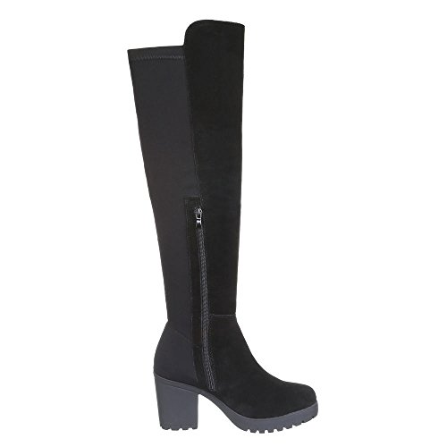 Chaussures, hB-oVERKNEE b2892-botte en daim Noir - Noir