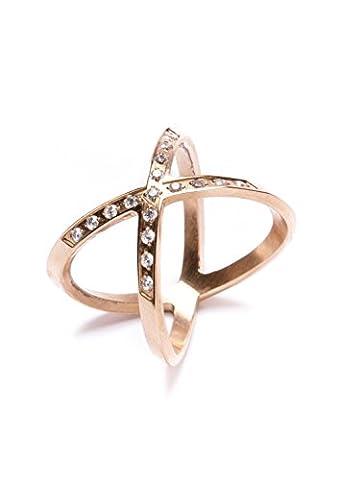 Happiness Boutique Damen Titan Swirl Cross Over Überkreuzter Wrap Around Ring in Rosegold