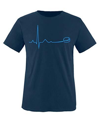 Comedy Shirts - Pulsschlag Eishockey - Jungen T-Shirt - Navy/Blau Gr. 152-164