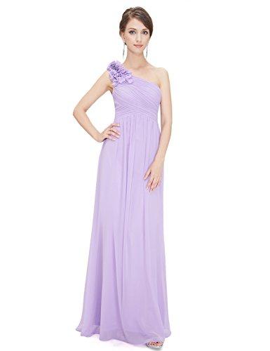 One-shoulder-kleid (Ever Pretty Damen Elegant One Shoulder Hochzeit Gast Abendkleid 42 Größe Lavendel)