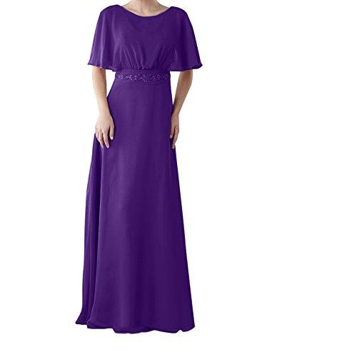Charmant Damen Hell Rosa 3/4 Langarm Chiffon Abendkleider  Brautmutterkleider Ballkleider mit Spitze Applikation Dunkel