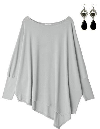 Sitengle Damen Langarmshirt Blusen Asymmetrisch Solide T shirt Casual Loose Rundhals Langshirt Oberteil Tops Grau One Size - Asymmetrische Top