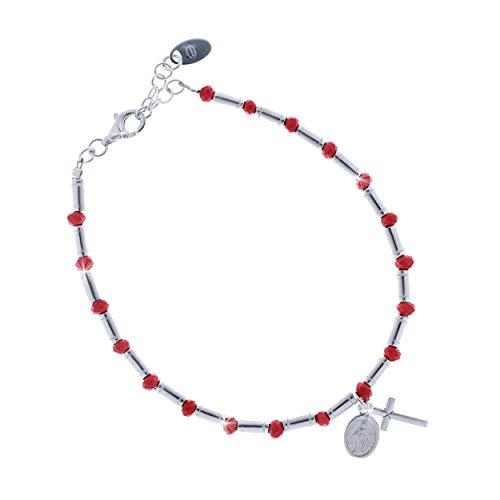 UNOAERRE - Pulsera Rosario de plata 925 con bolas rojas, Virgen Milagrosa y Cruz
