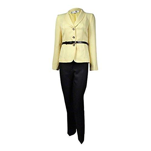 By ASL Damen Petite Herringbone Hose Anzug Set Gelb 16P