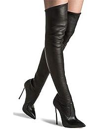 b4ce422d47ffa6 HN Boots Damen Überknie Stiefel Oberschenkel High Heels Stilettos Stretch  Party Abend Schwarz Größe EU 35