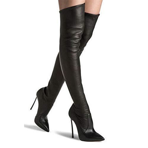 HN Boots Damen Überknie Stiefel Oberschenkel High Heels Stilettos Stretch Party Abend Schwarz Größe EU 35-45,LeatherBlack,EU41/UK7.5 -
