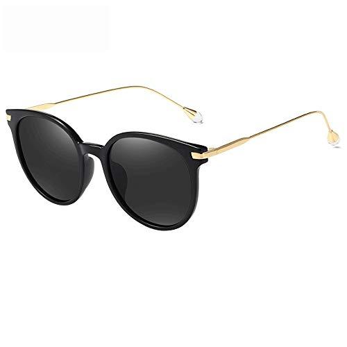 Polarisierte Sonnenbrille für Männer Frauen Aviator Metallspiegel UV 400 Objektiv Mode Brille (Farbe : Schwarz, Größe : Casual Size)