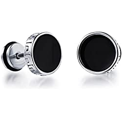 Asma Unisex Titanium Steel Great Wall Lines Round Tunnel Plug Stud Earrings for Men & Women (Pair)