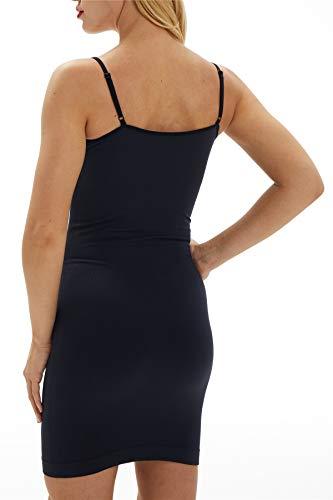 Franato Damen Control Full Slip Kleid Shaperwear Slim Body Shaper Smoother Gr. 2-4 Jahre Old, Schwarz ohne Spitze - 2