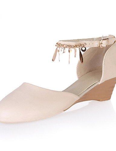 WSS 2016 Chaussures Femme-Mariage / Habillé / Décontracté / Soirée & Evénement-Noir / Rose / Beige-Talon Compensé-Compensées-Talons-Similicuir beige-us6.5-7 / eu37 / uk4.5-5 / cn37