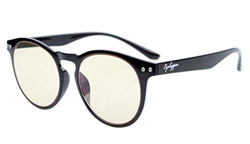 Eyekepper Retro Vintage Flex leichte Kunststoff runder Rahmen Computer Brille Leser Brillen (schwarz, gelb getönt Linsen)