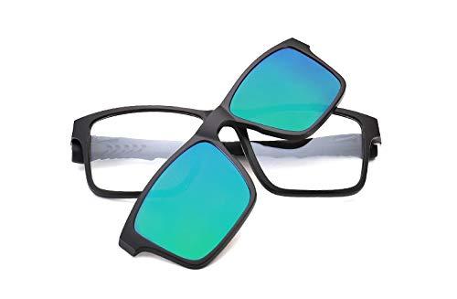 LKVNHP Quadratische Polarisierte Magnet-Clip Auf Sonnenbrille Frauen Männer Titan Sonnenbrille Für Männer Fahren Double Lens Prescription Frames ShadesBlau Grün