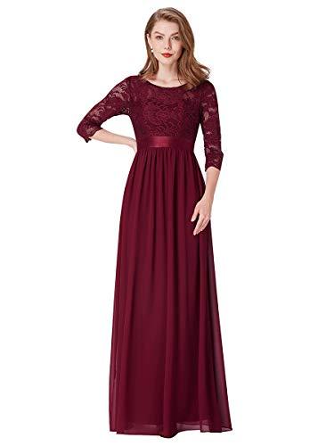 Ever-pretty vestito da cerimonia donna linea ad a girocollo manica 3/4 pizzo chiffon stile impero lungo borgogna 54