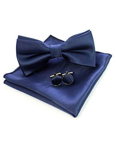 JEMYGINS Dunkelblau Fliege und Einstecktuch mit Manschettenknöpfe Sets für Herren Hochzeit Seidenfliegen(4) Design-krawatte Tie