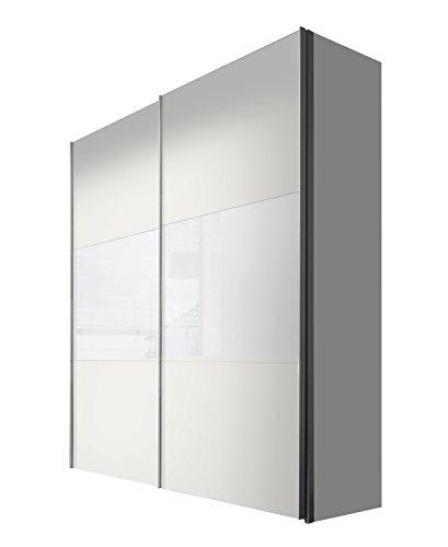 Express Möbel Schwebetürenschrank 200 cm Weiß-Polarweiß, 2-türig, Absetzung Weißglas, BxHxT 200x236x68 cm, Art Nr. 46890-210