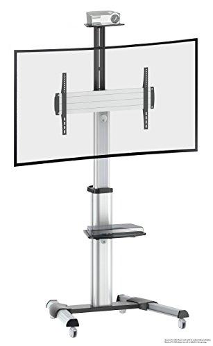 RICOO TV Ständer Universal Standfuß Halterung Neigbar Drehbar FS0464 Schwenkbar mit Rollen Höhenverstellbar LCD LED Fernseher Stand Möbel DVD Rack Receiver Regal Ablage VESA 600x400