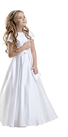 Immagine non disponibile. Immagine non disponibile per. Colore  Lacey Bell  Vestito Bambina Prima Comunione Damigella Raso Maniche Corte ... 305a72b17a1