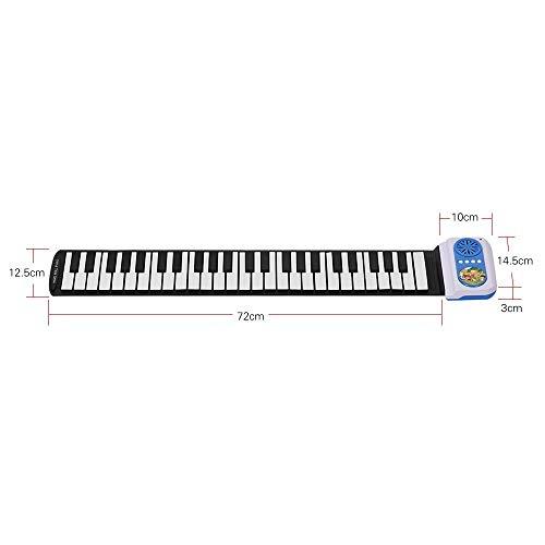 Jurenay Neues Klavier Aufrollen Klavier, tragbare 49 Tasten elektronische Tastatur Handrolle Klavier für Kinder Kinder Anfänger Geschenke (Farbe: schwarz + weiß) Geeignet für Musik
