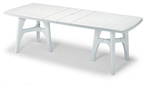 Tisch für Außen weiß, Tisch für Garten ausziehbar aus Kunststoff