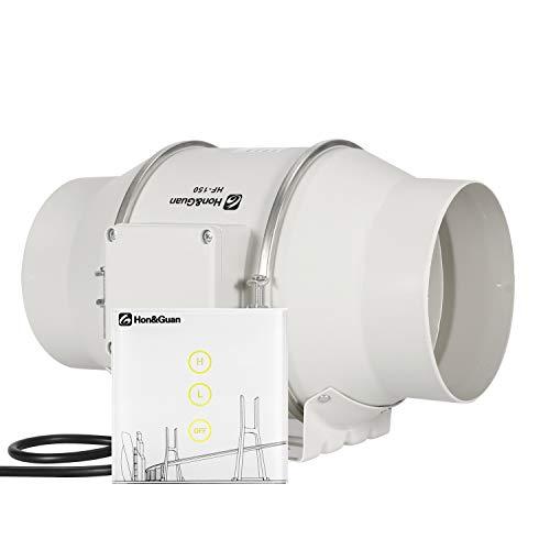 Hon&Guan 150mm Rohrventilator Rohrlüfter mit Wireless Controller - Mischdurchfluss Kanalventilator Silent für Badezimmer, Gewächshäuser, Hydroponik (150mm) 300 Amp-controller