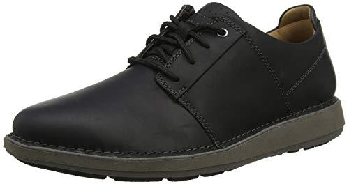 Clarks Un Larvik Lace, Zapatos de Cordones Derby para Hombre, Piel Negra Negra, 42 EU