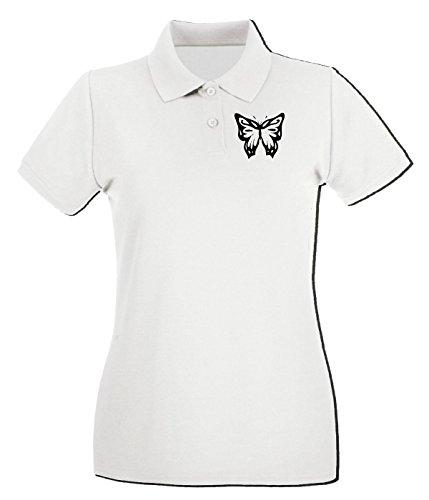 Cotton Island - Polo pour femme FUN0901 butterfly sticker 09 24471 Blanc