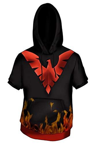 RedJade Herren Damen Anime Cosplay Kostüm X-Men Dark Phoenix Kurzarm T-Shirt Pullover Hoodie (Xmen Phoenix Kostüme)