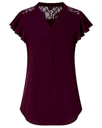 SOLERSUN Frauen Casual Bluse Tops, Junioren Chiffon Blusen für Frauen Short Sleeve Lace Spleißen Shirts Mode 2019 Wein Rot S - Junioren Top