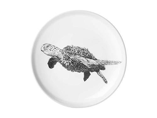 Maxwell & Williams DX0378 Marini Ferlazzo Teller Sea Turtle, aus Bone China Porzellan, Schwarz, Weiß, in Geschenkbox Weiß Bone China