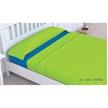 (Verde/Azul 135) JUEGO SÁBANAS DE VERANO LISAS (3 PIEZAS) MICROFIBRA, TACTO SUAVE, MUY LIGERAS, 1 FUNDA ALMOHADA, 1 BAJERA ELÁSTICA Y 1 ENCIMERA, PARA CAMA DE HASTA 200 CM DE LARGO (135_x_200_cm, Verde/Azul)
