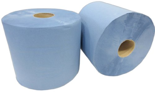 2x Putzrolle blau 2-lagig 1000 Blatt 22x36 cm perforiert saugstark Reinigunstücher Putzpapier Wischtücher