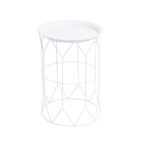 Table d'appoint auxiliaire Rond Couleur Métal Blanc - Conception Nordique Style Vintage - Chambre Living Modèle Mr Smith 44 * 32 * 32 cm.