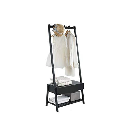 INTER FAST Massivholz Kleiderständer Schlafzimmer Kleiderbügel Wohnzimmer Kleiderständer Bodenständer Schwarz Holz 64,5X39,5X149,5 cm (Color : 2) -