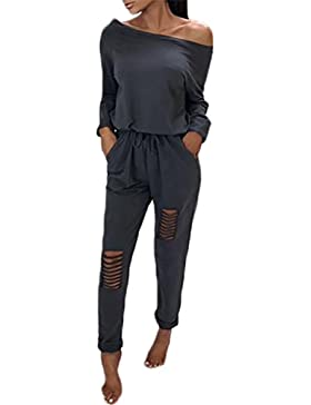 Boutiquefeel Damen Casual Schulterfrei Drawstring Top Ripped Hose Jumpsuits