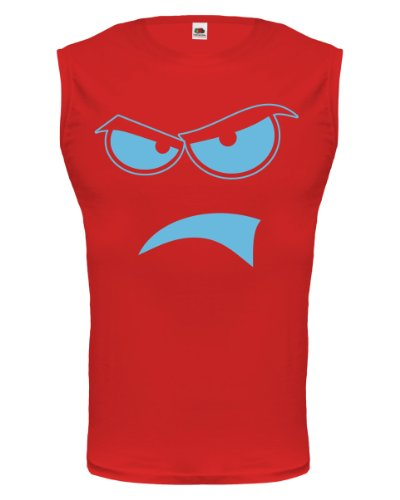 buXsbaum® Tank Top Angry Face Red-Skyblue