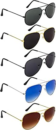 NuVew Combo Pack of 5 Aviator Unisex Sunglasses With Pouch (Multi-color   Free Size   UV Protection)