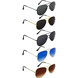 NuVew Combo Pack of 5 Aviator Unisex Sunglasses With Pouch (Multicolor   Medium Size   UV Protection)