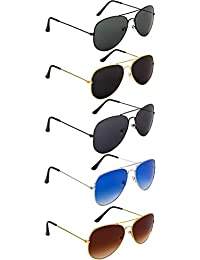 NuVew Combo Pack of 5 Aviator Unisex Sunglasses With Pouch (Multicolor | Free Size | UV Protection)